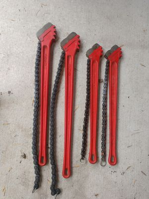 4.5 and 3 inch Rigid Chain Wrenches for Sale in Houston, TX