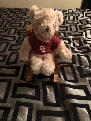 Handmade wood rocking chair with Ou bear for Sale in Oklahoma City, OK