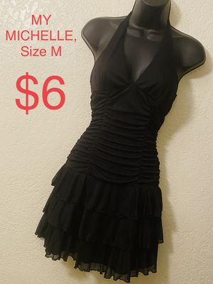 MY MICHELLE, Black Halter Ruched/Tiered Chiffon Dress, Size M for Sale in Phoenix, AZ