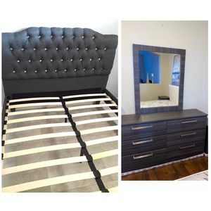 New queen Grey bed frame and mirror dresser mattress is not included for Sale in Pompano Beach, FL