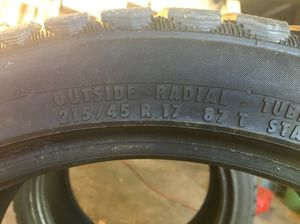 Two 215/45R17 continental snow tires in excellent condition for Sale in Cleveland, OH