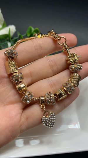 18K Gold Plated Austrian Crystal Rhinestone Star Love Heart Charm Bracelet for Sale in Los Angeles, CA