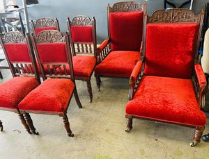 Victorian exquisite velvet RED (1900) 6 dining chairs with wheels UNIQUE!! for Sale in Lathrop, CA