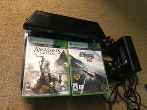 Xbox 360 with Kinect and two game controllers with cds for Sale in Bellevue, WA