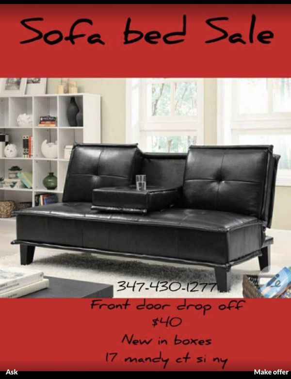 Leather Sofa bed Brand new Sofa bed Cup holder / Futon bed sale brand new in boxes. Pick up . 17 mandy court staten Island ny No transportation. N