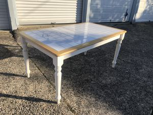 White tile top table with wood trim for Sale in Reading, PA