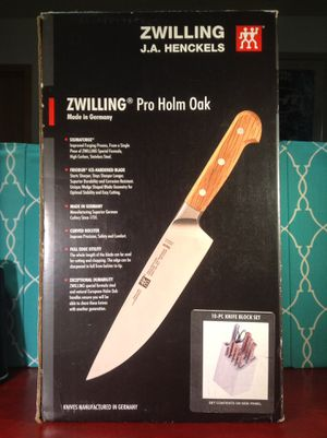 $550.00. ZWILLING HENCKELS PRO HOLM OAK 10PC KNIFE SET NEW SEE DETAILS PLEASE for Sale in Houston, TX