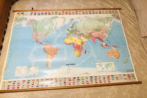 Hanging World Map 🌍 Laminated for Sale in Los Angeles, CA