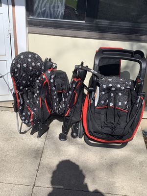 Baby Mickey Set stroller, play pen, and bouncer for Sale in Roseville, MI