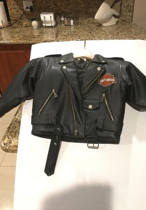 Childs leather Harley Davidson motorcycle jacket, size 5, never worn, excellent condition. for Sale in Boynton Beach, FL