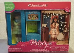 Brand New American Girl Beforever 3 Book Melody Ellisons Doll Bookmark and Doll Stand Gift Set . for Sale in Everett, WA