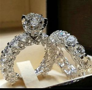 Size 7 Crystal Female Zircon Wedding Ring Set Fashion 925 Silver Bridal Sets Jewelry Promise Love Engagement Rings For Women for Sale in Los Angeles, CA