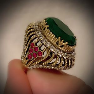 EMERALD PIGEON BLOOD RED RUBY RING Size 7.5 Solid 925 Sterling Silver/Gold WOW! Brilliant Facet Oval/Round Cut Gemstones, Diamond Topaz K9142 V for Sale in San Diego, CA
