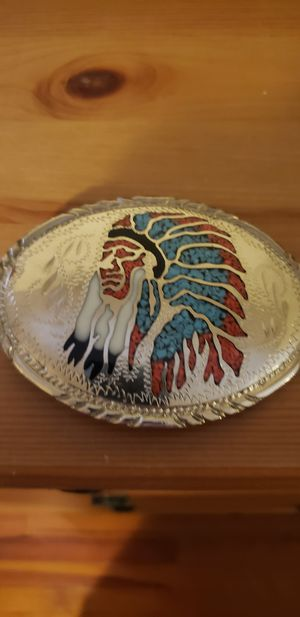 Silver and turquoise belt buckle for Sale in Boyce, VA