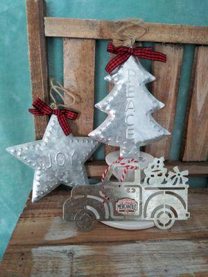 3 galvanized Christmas Ornaments truck star tree for Sale in Colton, CA