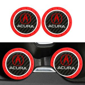 BRAND NEW 2PCS ACURA RED RUBBER CUP MAT WITH REAL CARBON FIBER EMBLEM for Sale in City of Industry, CA