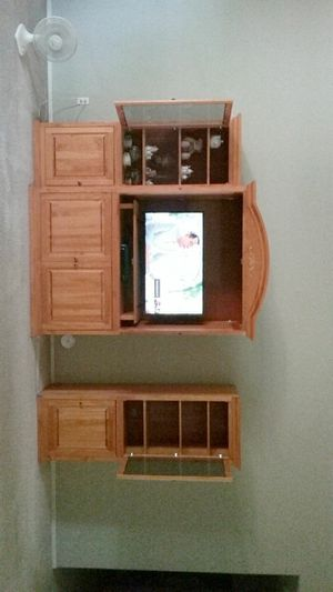 All pine wood 3 piece entertainment center. Custom made with natural wood finish for Sale in Apache Junction, AZ