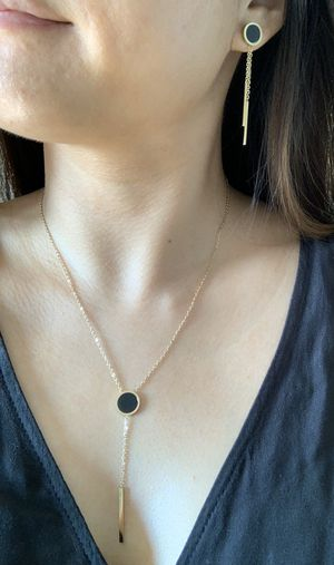 Black/Gold Circle Pendant Necklace and Earrings Jewelry Set for Sale in Prospect Heights, IL
