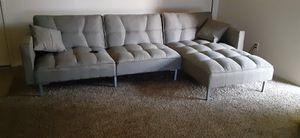 Futon couch, grey for Sale in Fresno, CA