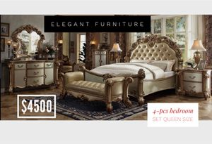 Queen Size Bedroom Set 4pc- Recamara Queen Size de 4pc @Elegant Furniture for Sale in Fresno, CA