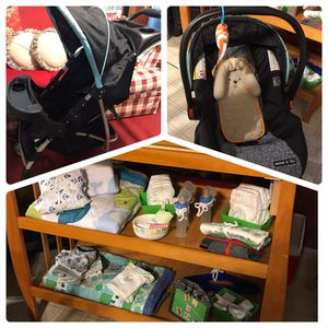 Baby Stroller, Changing table, Car Seat, Diapers, Cloths, Bottles, Blankets, Baby Carrier, and tons more! SOLD ALL TOGETHER for Sale in Elma, WA