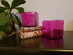 2 Hand Blown Pink Glass Vases for Sale in St. Louis, MO