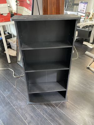 Small black shelf 3'hi 19 inches wide Shelves are 5 1/2 inches deep for Sale in Los Angeles, CA