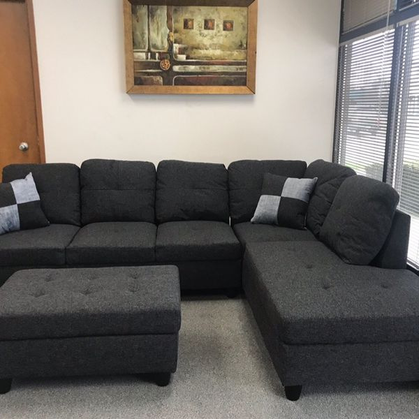 Charcoal Linen Sectional Couch And Storage Ottoman