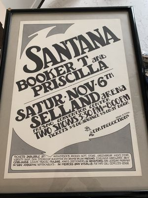 Santana Concert Poster | Fresno | Randy Tuten | Original | 1971 for Sale in Sacramento, CA