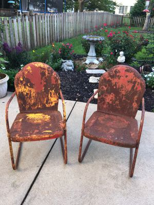 Vintage Steel Clamshell back patio chair. $295 ea or $499 pair or BO. for Sale in Manchester, MO