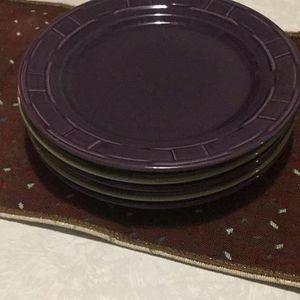 Longaberger Pottery Plates In Sage and Eggplant for Sale in Buffalo, NY