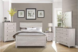 4 PCS QUEEN BEDROOM SET: QUEEN BED FRAME, NIGHTSTAND, DRESSER, MIRROR for Sale in Dublin, CA