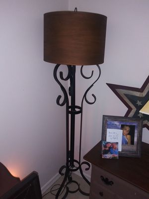 Beautiful wrought iron floor lamp, copper shade for Sale in Apopka, FL