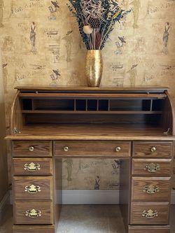 Antique Rollover Wooden Desk (Real Wood!) for Sale in Roseville,  CA
