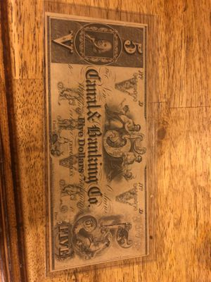 1860's 5$Canal Bank Note for Sale in Kirksville, MO