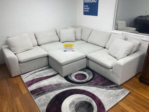 NEW AVENTURA FABRIC SECTIONAL SOFA WITH OTTOMAN. GRAY OR WHITE. ONLY $699. NO CREDIT CHECK FINANCING AVAILABLE for Sale in Lakeland, FL
