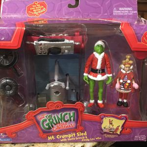 Dr Seuss How Grinch Stole Christmas Action Figures Mt Crumpit Sled W/ Santa Grinch And Cindy Lou Who for Sale in Fort Lauderdale, FL