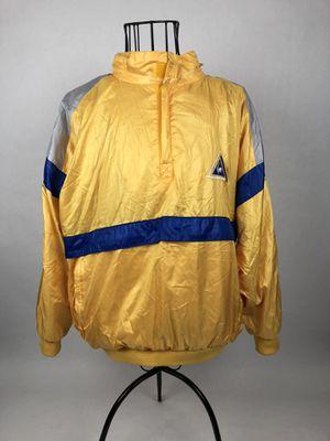 Vtg Le Coq Sportif Pullover Jacket Hoodie Windbreaker Yellow Blue Mens Medium for Sale in Orlando, FL
