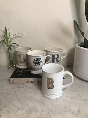 Anthropologie coffee mugs tea cups monogram for Sale in Portland, OR