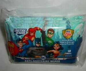(2) Justice League anti bacterial wipes kills 99.9% of germs 10 wipes per package for Sale in Fort Worth, TX