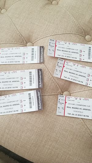 Tickets to arsenal and real Madrid game on tuesday for Sale in Frederick, MD