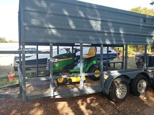 John Deere riding lawn mower and the trailer to pull your equipment for Sale in Fort Worth, TX