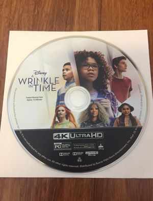 Disney A Wrinkle In Time Movie 4K disc only for Sale in Los Angeles, CA
