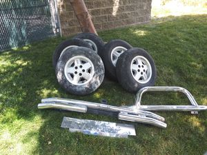 Jeep tires & wheels. Plus spare 215×75r15 plus tow package and push bar for Sale in West Valley City, UT