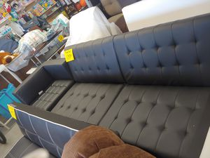 Beautiful black futon sofa 3-position split-back with matching chair chair does have a dent on the Chrome $329 for both pieces or separate for Sale in Phoenix, AZ