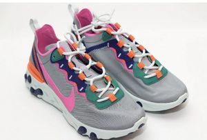 Nike Women's React Element 55 BQ2728-006 Wolf Grey Laser Fuchia Shoes Women's Size 11 for Sale in Glendale, AZ
