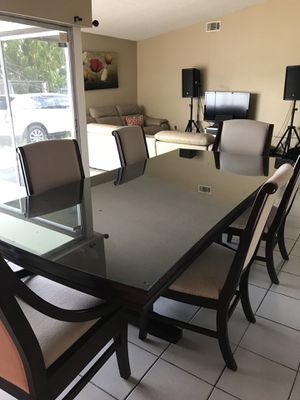 Dining table 6 chairs custom made glass for Sale in Miami, FL