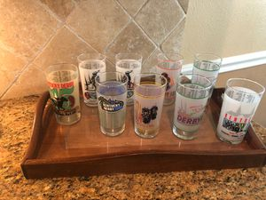 9 Kentucky derby collectible glasses and tray for Sale in Katy, TX