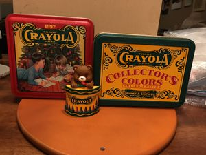 Two Crayola Collectible Tins with Bear 🐻 Ornament for Sale in Gainesville, VA