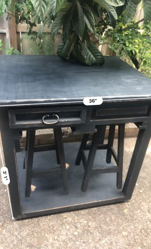 Dining Table and Bar Stools, Rolling Kitchen Trolley Cart with 2 Storage Drawers for Sale in Houston, TX